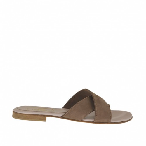 Woman's mules in taupe nubuck leather heel 1 - Available sizes:  42