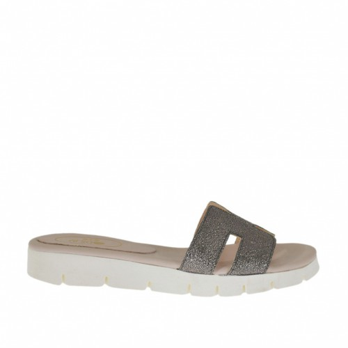 Woman's mules in metalized lead grey printed laminated leather wedge heel 2 - Available sizes:  32, 33, 42, 43, 44