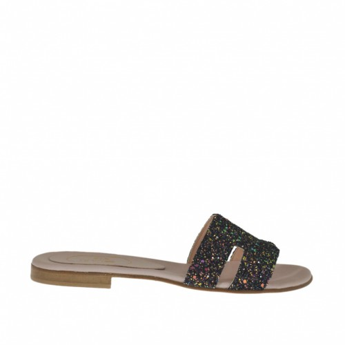 Woman's mules in black and multicolored glittered leather heel 1 - Available sizes:  32, 34, 42, 43, 47