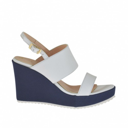 Woman's sandal in white leather and blue fabric with platform and wedge heel 8 - Available sizes:  42