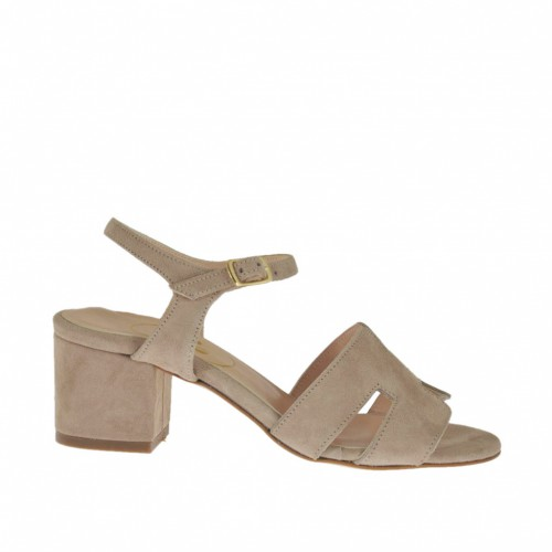 Woman's strap sandal in sand beige suede heel 5 - Available sizes:  42