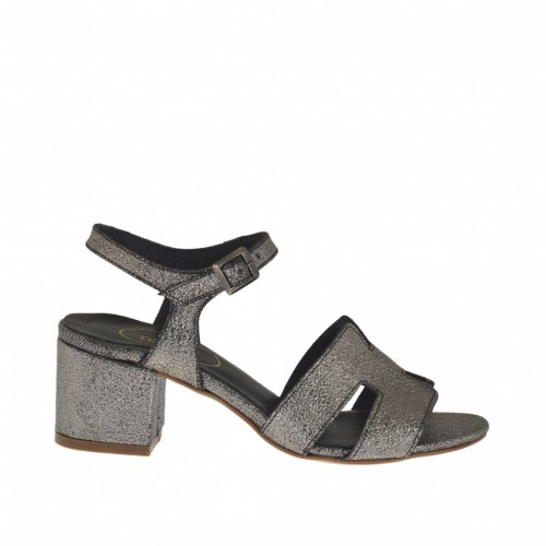 Woman's strap sandal in lead grey printed laminated leather heel 5 - Available sizes:  45