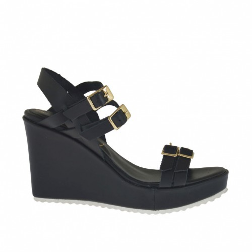 Woman's platform sandal with adjustable straps and buckles in black leather wedge 8 - Available sizes:  32, 33, 34