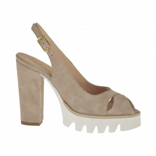 Sandale pour femmes en daim beige sable talon 10 - Pointures disponibles:  31, 32, 33, 34, 43, 44, 46