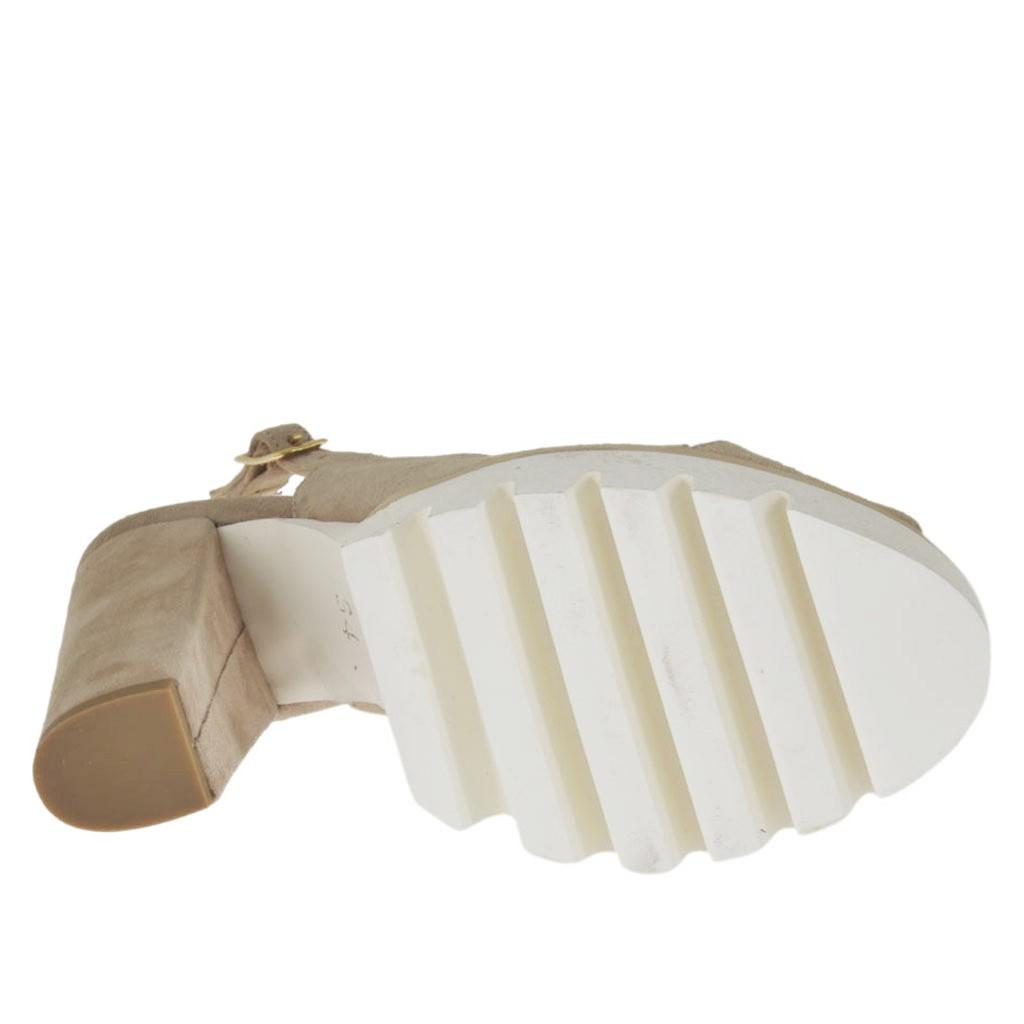 woman 39 s sandal in sand beige suede heel 10 ghigocalzature. Black Bedroom Furniture Sets. Home Design Ideas