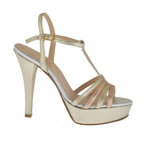 Woman's sandal with T-strap and platform in platinum, silver and copper leather heel 10 - Available sizes:  42, 45, 46, 47