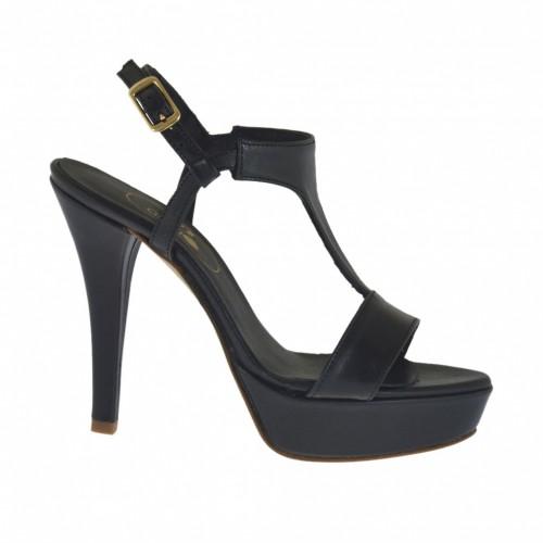 Sandale pour femmes en cuir noir avec plateforme et talon 10 - Pointures disponibles:  42, 46