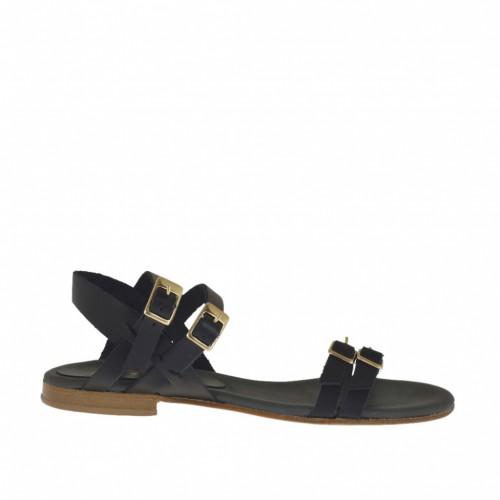 Sandale pour femmes avec boucles et courroies réglables en cuir noir talon 1 - Pointures disponibles:  45