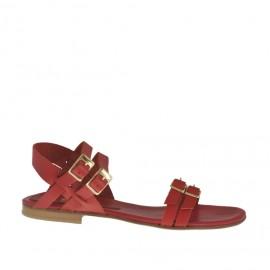 Sandalia para mujer con hebillas y cinturones ajustables en piel roja tacon 1 - Tallas disponibles:  32