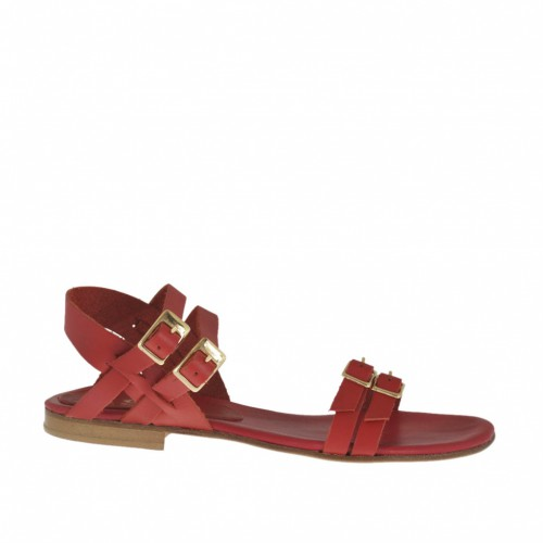 Woman's sandal with adjustable straps and buckles in red leather heel 1 - Available sizes:  32, 33, 43, 44