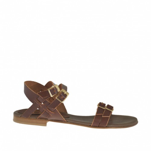 Woman's sandal with adjustable straps and buckles in brown leather heel 1 - Available sizes:  32, 46