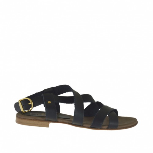 Woman's sandal with crossed straps in black leather heel 1 - Available sizes:  32