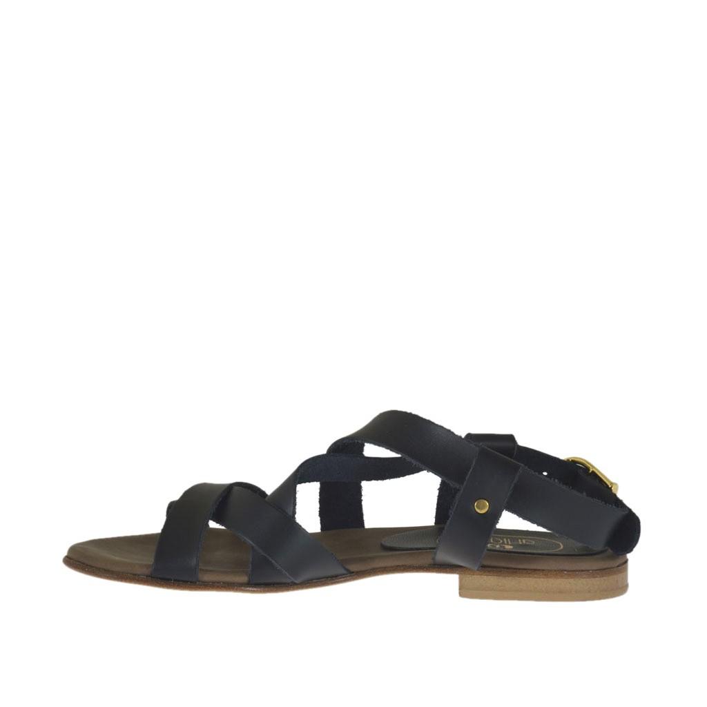Mujer Piel Sandalia 1 Con Tiras Tacon Cruzadas Negra Para En Xkpoziu jLqSUzMVpG