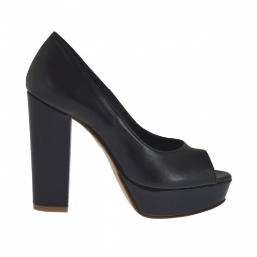 Woman's open toe pump with platform in black leather heel 10 - Available sizes:  46, 47