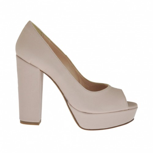 Woman's open toe pump with platform in pink leather heel 10 - Available sizes:  31, 43, 46, 47