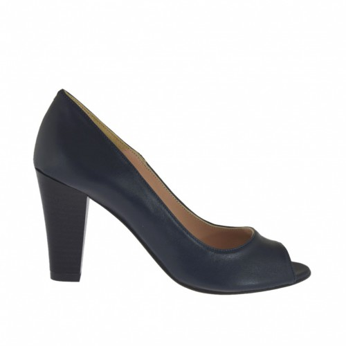 Woman's open shoe in blue leather heel 8 - Available sizes:  32, 33, 34, 42, 43, 44, 45, 46