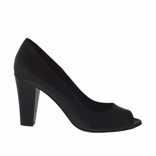 Escarpin à bout ouvert pour femmes en cuir noir talon 8 - Pointures disponibles:  32, 33, 42, 43, 44