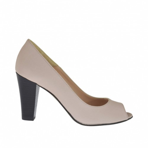 Woman's open shoe in pink leather with black heel 8 - Available sizes: 32, 33, 34, 42, 43, 44, 45, 46