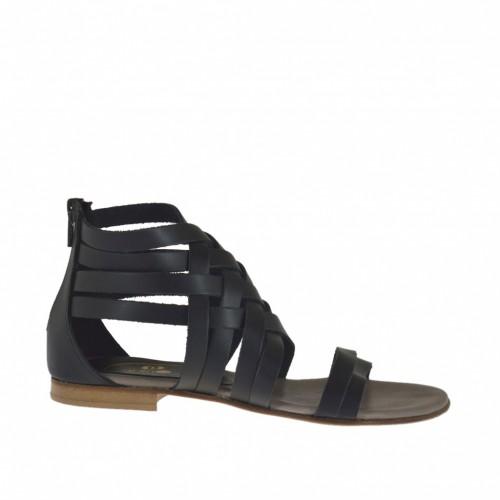 Chaussure ouvert pour femmes avec fermeture èclair et bandes entrecroises en cuir noir talon 1 - Pointures disponibles:  32