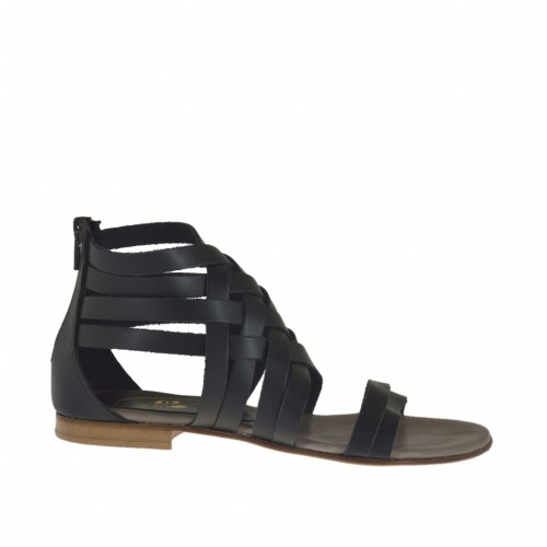 Woman's open shoe with intertwined straps and zipper in black leather heel 1 - Available sizes:  32