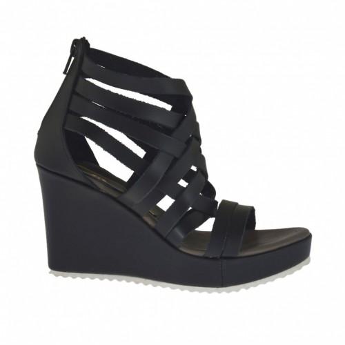 Chaussure ouvert pour femmes avec fermeture éclair et plateforme en cuir noir talon compensé 8 - Pointures disponibles:  31