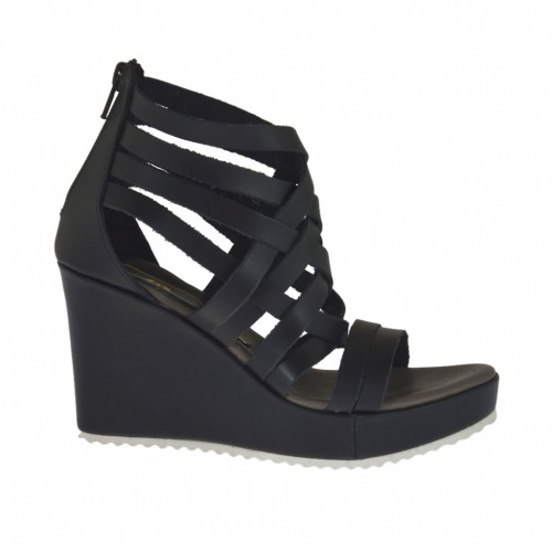 Woman's open shoe with zipper and platform in black leather wedge heel 8 - Available sizes:  31