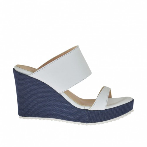 Woman's mules in white leather and blue fabric with platform and wedge heel 8 - Available sizes:  42