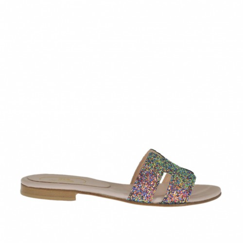 Woman's mules in multicolored glittered leather heel 1 - Available sizes:  33, 34, 43, 44, 46, 47