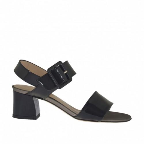 Sandale pour femmes en cuir verni noir avec courroie talon 4 - Pointures disponibles:  33, 44, 46