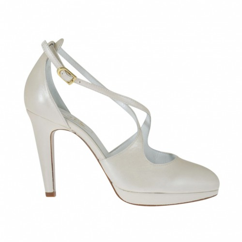 Woman's open shoe in pearled ivory leather with strap, platform and  heel 9 - Available sizes:  42, 43, 44, 45, 46