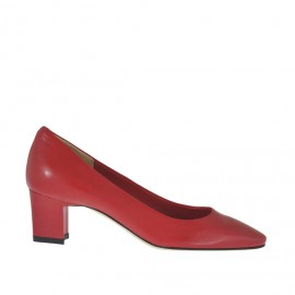 Woman's pump in red leather heel 5 - Available sizes: 32, 33, 34, 42, 43, 44, 45, 46