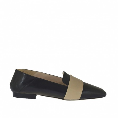 Woman's mocassin in black and beige leather heel 1 - Available sizes:  34, 42, 45, 46
