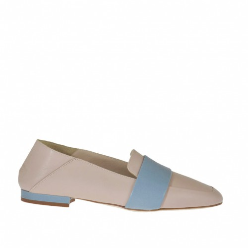 Woman's mocassin in rose and blue leather heel 1 - Available sizes:  34, 46