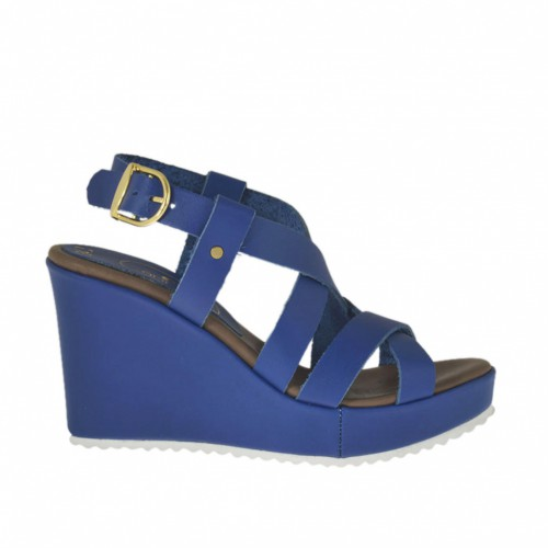 Woman's platform sandal with straps in blue leather wedge 8 - Available sizes:  31, 32