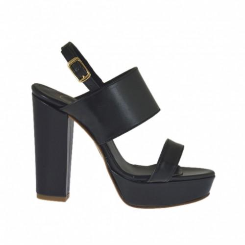 Sandale pour femmes avec plateforme en cuir noir talon 9 - Pointures disponibles:  32, 34, 46, 47