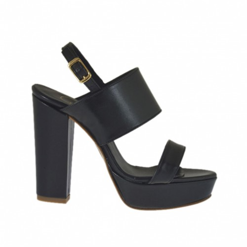 Woman's sandal in black leather with platform heel 9 - Available sizes:  31, 32, 34, 42, 43, 44, 45, 46, 47