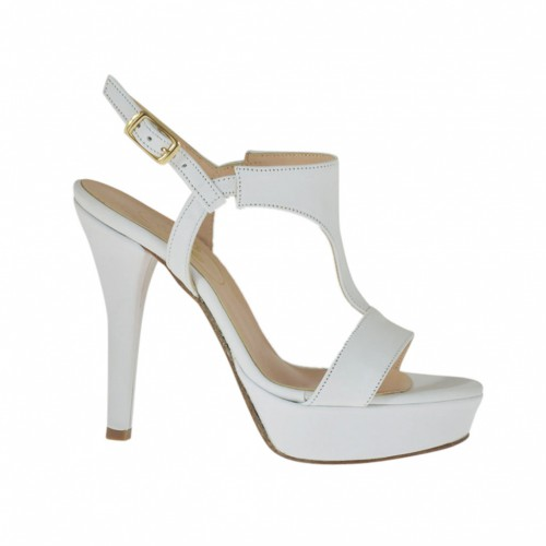 Woman's sandal in white leather with platform and heel 10 - Available sizes:  31, 42, 46, 47