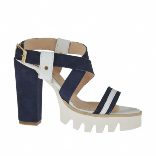 Woman's sandal in white leather and blue suede heel 9 - Available sizes:  31, 42