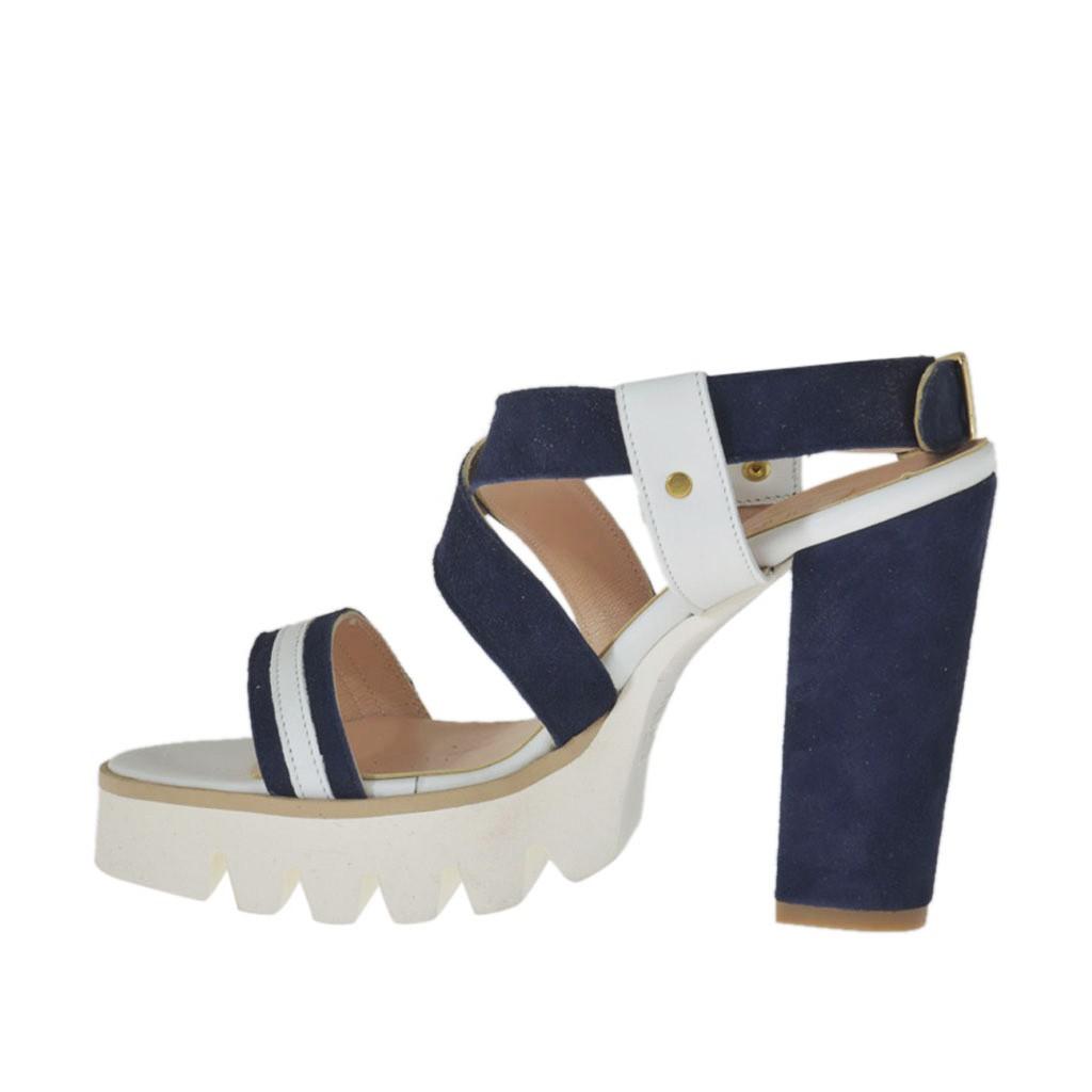 sandale pour femmes en cuir blanc et daim bleu talon 9 ghigocalzature. Black Bedroom Furniture Sets. Home Design Ideas