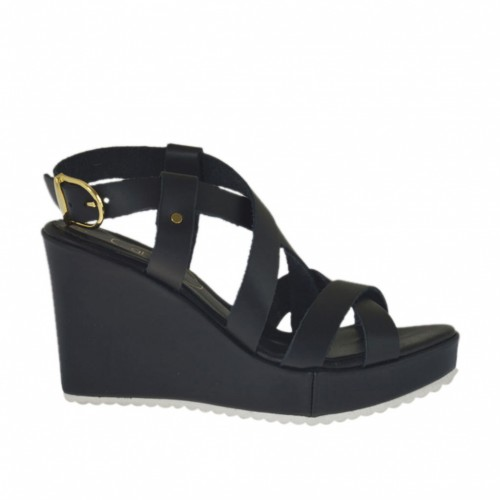 Woman's platform sandal with straps in black leather wedge 8 - Available sizes:  31, 32, 34