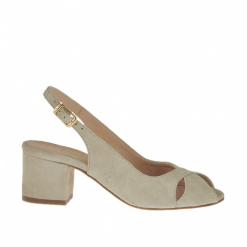 Woman's sandal in beige suede heel 5 - Available sizes:  32, 43, 45, 46