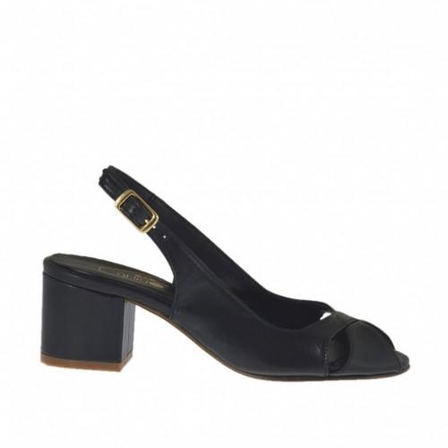 Sandale pour femmes en cuir noir talon 5 - Pointures disponibles:  32, 33, 34, 43