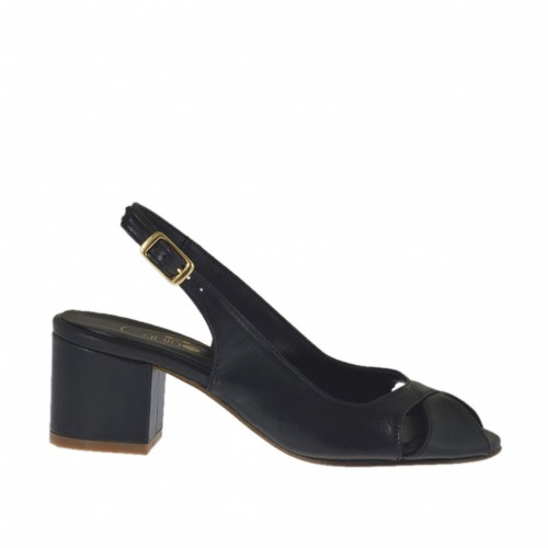 Woman's sandal in black leather heel 5 - Available sizes:  32, 33, 34, 43