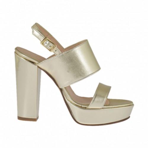 Sandale pour femmes en cuir lamé platine avec plateforme et talon 9 - Pointures disponibles:  31, 43, 47