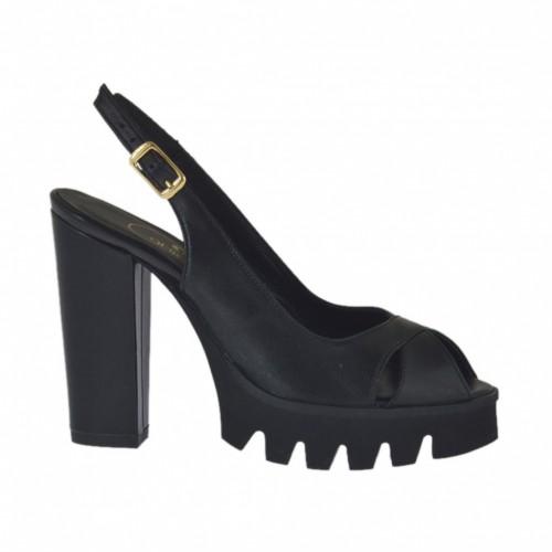Sandale pour femmes en cuir noir talon 10 - Pointures disponibles:  31, 32, 33, 34, 42, 45, 46