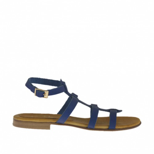 Woman's sandal with ankle strap and bands in blue leather heel 1 - Available sizes:  32, 33, 42, 43, 44