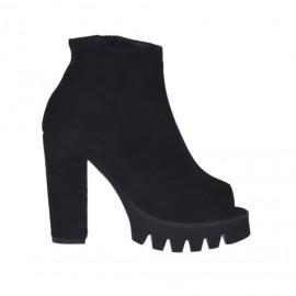 Zapato de salon abierto en punta para mujer con cremallera en gamuza negra tacon 9 - Tallas disponibles: 31, 32, 33, 34, 42, 43, 45, 46