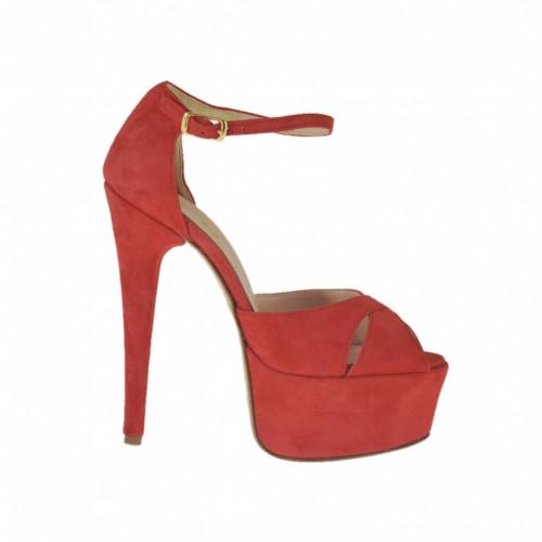 Offener Damenschuh mit Plateau und Riem aus rotem Wildleder Absatz 13 - Verfügbare Größen:  31, 32, 34