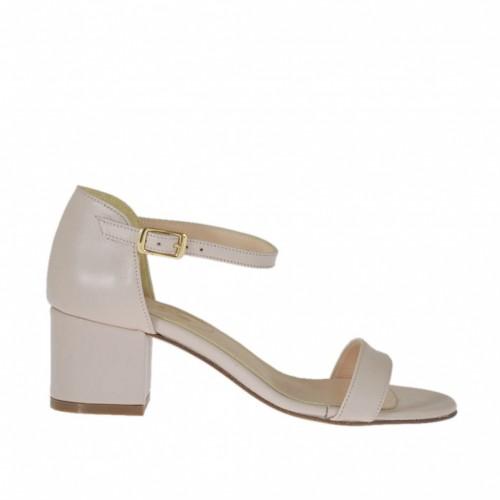 Chaussure ouvert pour femmes avec courroie en cuir rose talon 5 - Pointures disponibles:  32, 43, 44, 45, 46