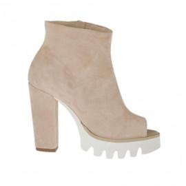 Zapato de salon abierto en punta para mujer con cremallera en gamuza rosa tacon 9 - Tallas disponibles: 31, 32, 33, 34, 42, 43, 44, 45
